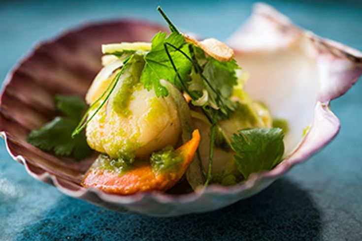 Barbecue scallops with green chilli nahm jim and herb salad