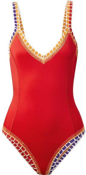 450ebd46dff1b Kiini - Kaia Crochet-trimmed Swimsuit - Red | Women's Swimwear | Swimsuits,  Swimwear fashion y Red swimsuit