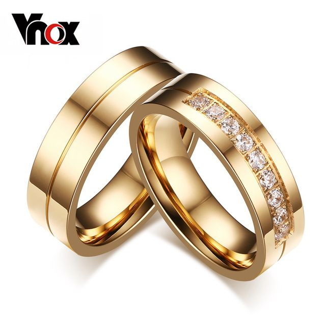 wedding bands rings for love 18k gold plated cz diamond zirconia stainless steel ring - Fake Wedding Ring