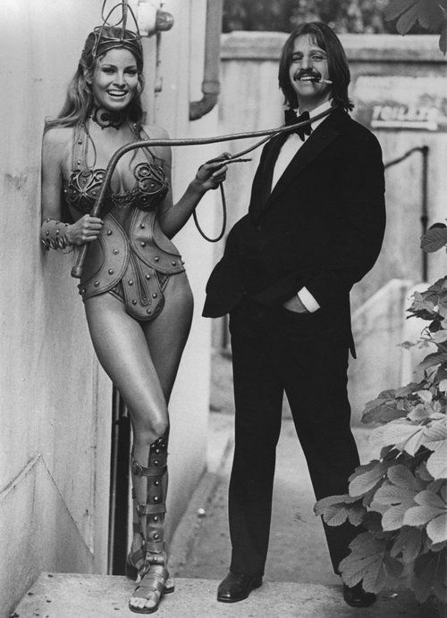Raquel Welch & Ringo Starr on the set of 'The Magic Christian', 1969.