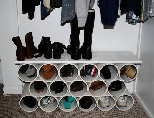 Shoerack for closet from PVC...uses little space...it's not pretty, but no one will see it but you.
