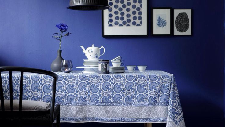 Tablecloth India blue