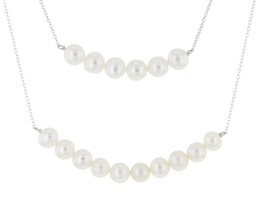 """7-8mm White Cultured Freshwater Pearl Rhodium Over Silver Center Station Pendant With 16"""" Chain"""