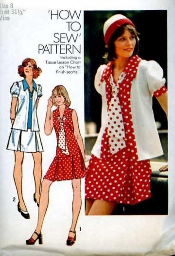 Vintage 1970s Simplicity 6085 Sewing Pattern Retro Flirty Pleated Skirt Mini Dress size Extra Small Bust 31