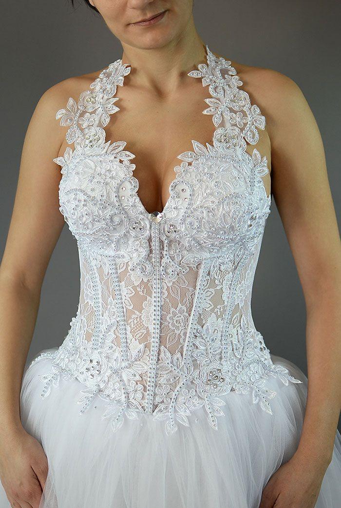 Rochie de mireasa alba cu corset transparent COD IMP41-a