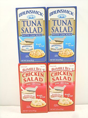 Bumble Bee Chicken Salad with Crackers 325oz2kits and Brunswick Tuna Salad with Crackers 3oz 2kits -- Continue to the product at the image link.Note:It is affiliate link to Amazon. #10likes
