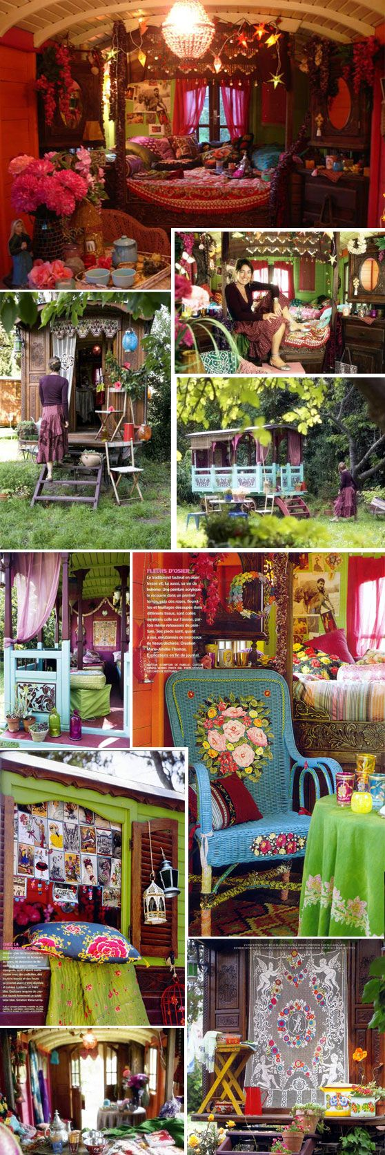 "Jeanne Bayol restores and decorates old gypsy caravans. ""Les Roulottes : Une invitation au voyage"""