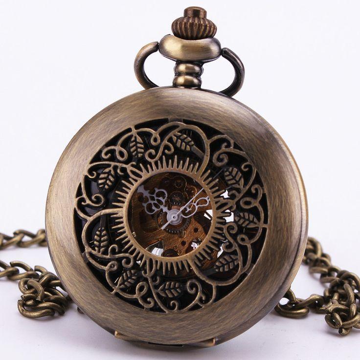 Steampunk Baroque Vintage Antique Archaize Gothic Dark Brown Bronze Mechanical Pocket Watch Sweater Chain Clock Necklace TD108 Alternative Measures