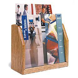 2-Tiered Brochure Holder for Tabletops, 4 Pockets Hold 4 x 9 Pamphlets - Light Oak