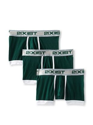 2(X)IST Men's Colour Solid No-Show Trunk 3-Pack (Botanical Green)