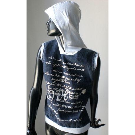 Hooded sleeveless denim top
