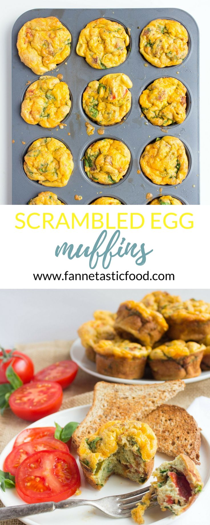 Scrambled Egg Muffins - cook once and eat scrambled eggs for breakfast all week! Easy, healthy, veggie-packed, cheesy scrambled eggs just got even easier.  | make ahead breakfast ideas | healthy egg muffins | easy brunch ideas | healthy breakfast recipes |