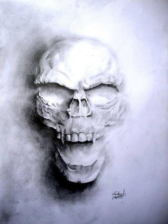 Skull Shadows Black and White