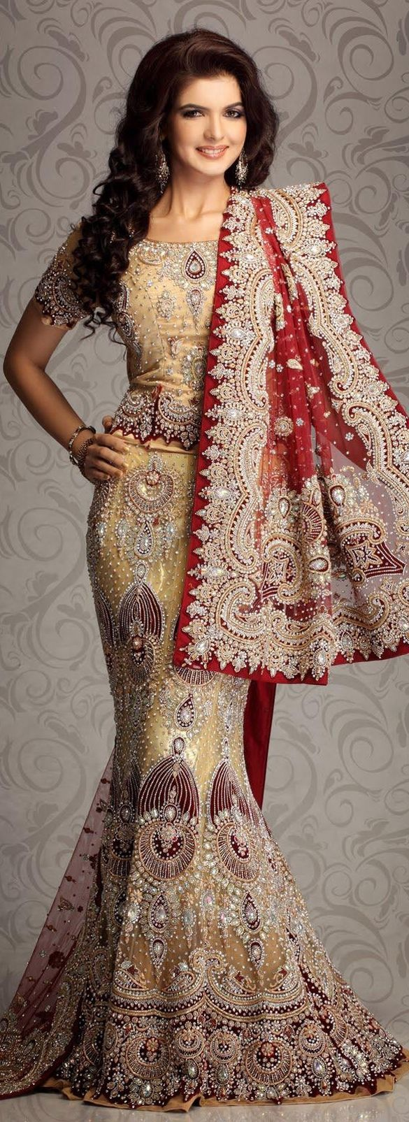$1996.82 Beige Maroon Net Bridal Lehengas 8777 With Unstitched Blouse