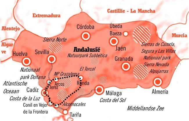 kaart fly drive andalusie 8 dgn Cadiz & Costa de la Luz