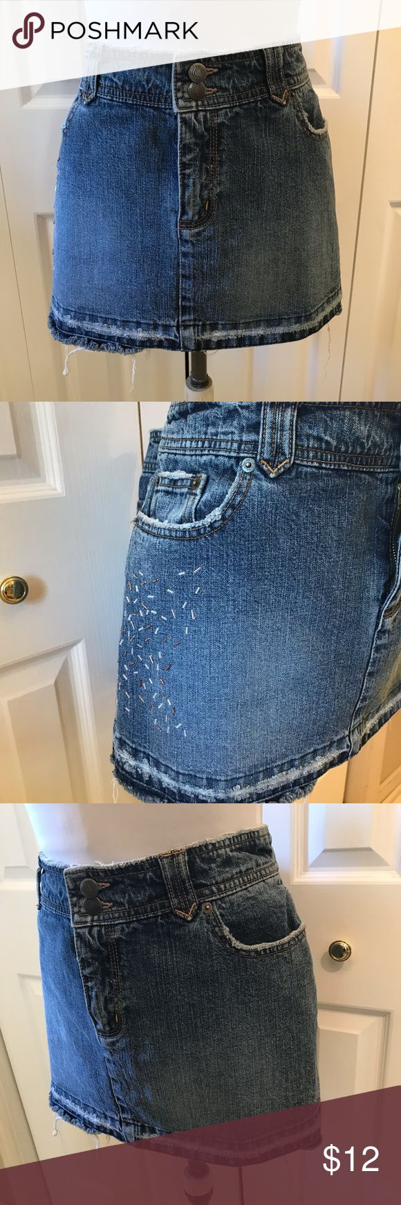 """So"" Jean Mini Skirt Beaded Raw Hem Distressed 13 ""So"" Jean Mini Skirt Beaded Raw Hem Distressed 13 Waist: 34"" Hip: 41"" Length: 12"" So Skirts Mini"