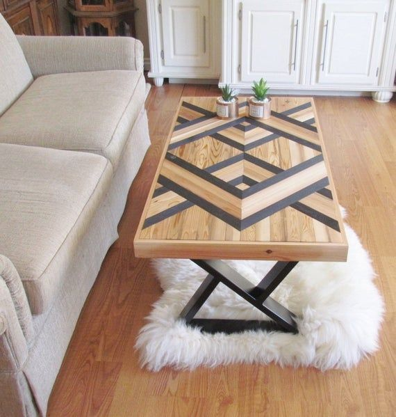Reclaimed Wood Coffee Table Wood Chevron Geometric Black Table Boho Decor Contemporary Art Deco Mid Century Modern Coffee Table In 2020 Mid Century Modern Coffee Table Coffee Table Wood Reclaimed Wood
