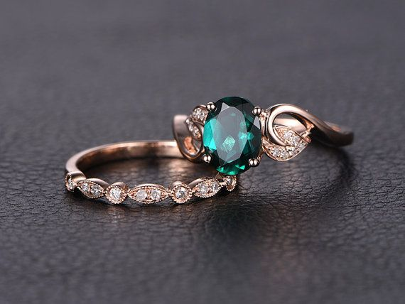 Emerald Engagement Ring Set Oval Cut Emerald Ring by kilarjewelry