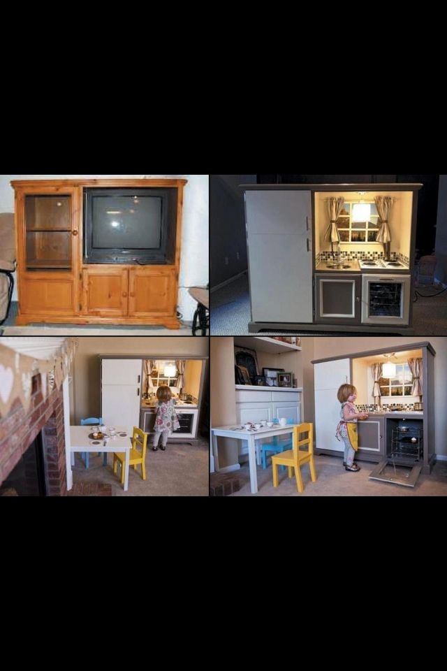 Recycling old tv cabinet into kids kitchenette Katie I