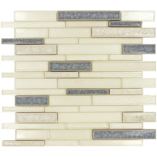 Bella Muro Series BMS-245 GLACIER LAKE.  A mix of crackle glass tiles with solid color tiles for a unique mosaic.