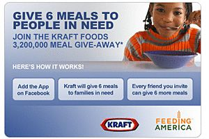 Cause Marketing Boosts Brand Marketing on Facebook for Kraft.  6 meals a day giveaway.  36% of prospective retirees have only $1,000 in savings.