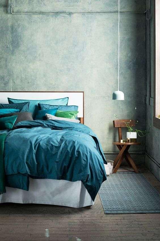 Idee per arredare la camera da letto con il verde petrolio - Biancheria da letto color petrolio