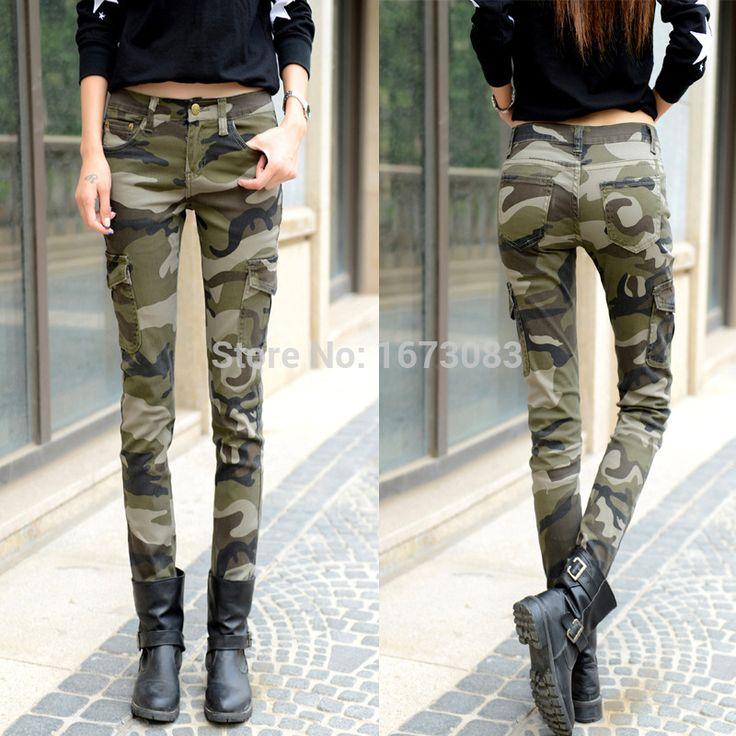 £: 2015 fashion camo skinny jeans woman camouflage jeans slim plus size pencil jean femme pantalones vaqueros mujer
