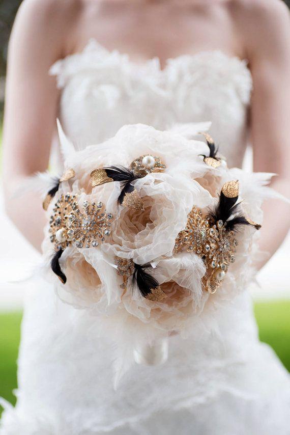 Custom Gold Brooch Bouquet Fabric Flower Bouquet by Mlleartsy