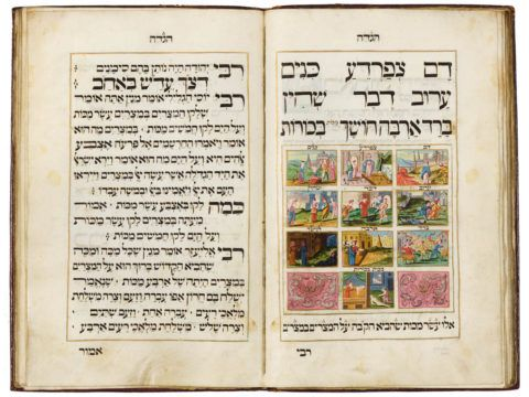 Passover Haggadah with Yiddish translation of Had Gadya [Central or Northern Europe], copied and decorated by Nathan ben Simson of Mezeritsch, 1730