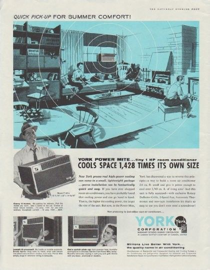 "Description: 1958 YORK AIR CONDITIONER vintage print advertisement ""York Power Mite"" ""Cools Space 1,428 Times Its Own Size. Model F 107-2. Millions Live Better With York ... the quality name in air conditioning."" Size: The dimensions of the full-page advertisement are approximately 11 inches x 14 inches (28 cm x 36 cm). Condition: This original vintage advertisement is in Very Good Condition unless otherwise noted."