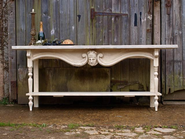 Moth Interiors Our tables are based on french restaurant serving tables, using reclaimed timbers and original 19th century french carvings.