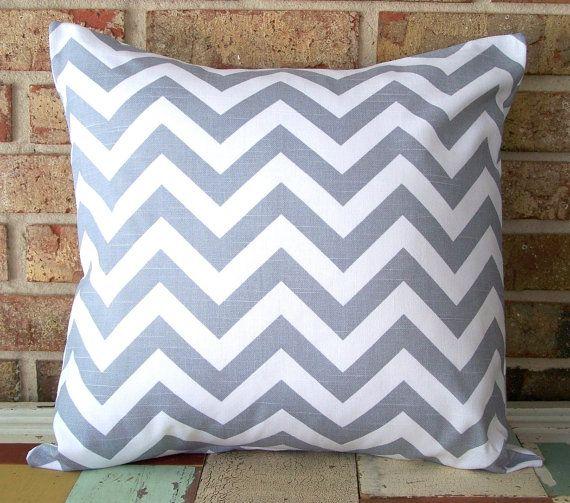 Decorative Pillow Covers  Ash Gray & White Chevron  by SewGracious, $16.00