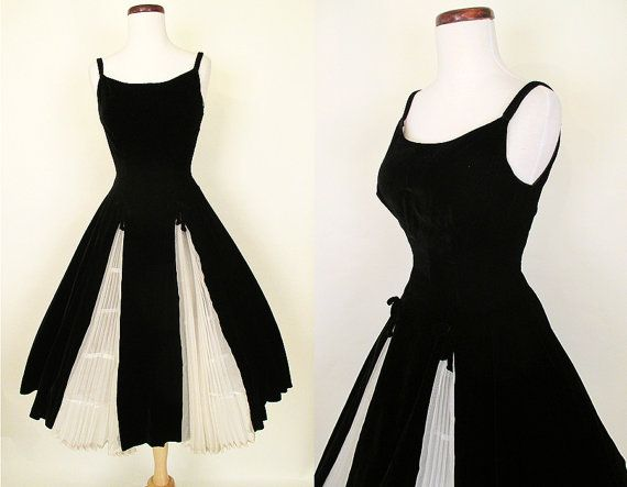 Lovely 1950's Designer Black Velvet Cocktail Dress by wearitagain