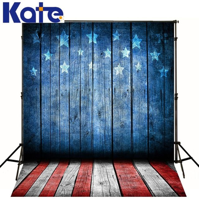 Kate Photo Backdrops Red And White Floor  Blue Wood Five-Stars Backgrounds July 4 Us Independence Day Backdrops For Photography