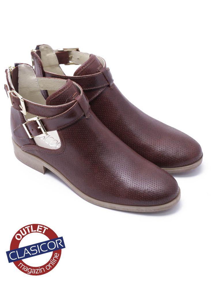 Botine dama din piele visinii – 1210 | Pantofi piele online / outlet incaltaminte piele | Clasicor