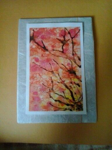 acquerello  albero d' autunno