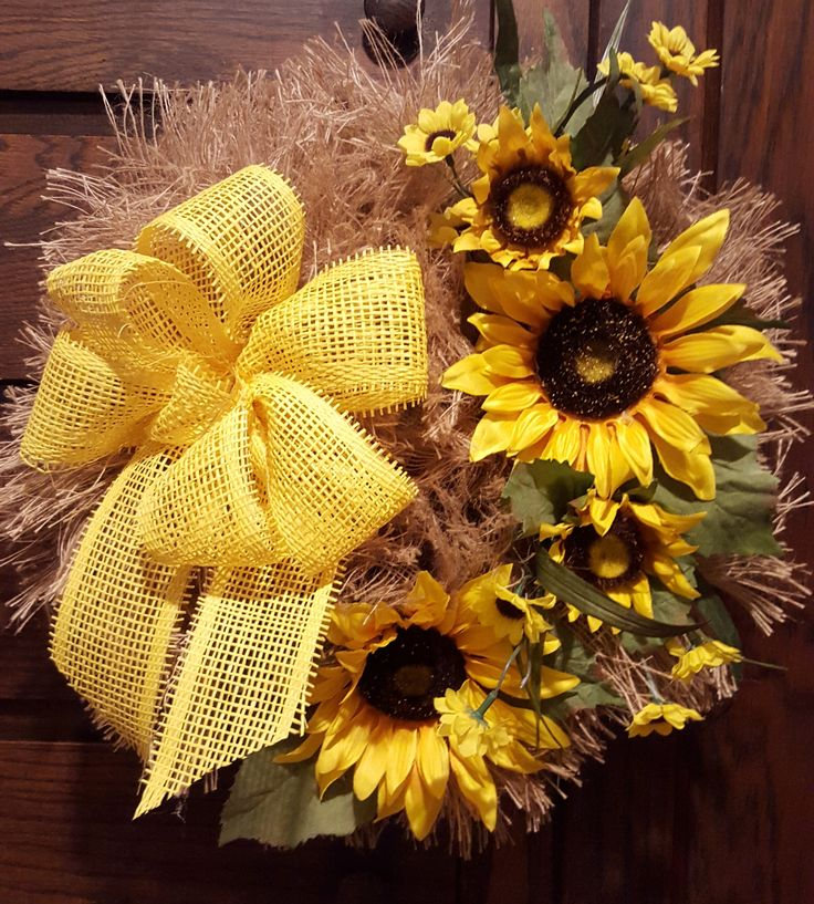 Bright and Cheery Sunflower Wreath Made by Country Mesh Wreaths & Décor