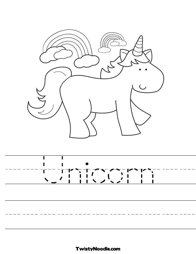 U Is For Unicorn Coloring Page