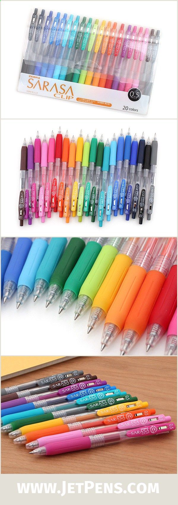 The popular Zebra Sarasa Push Clip Gel Pens now come in a box set of 20 colors -- the perfect gift for students and doodlers!