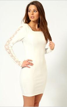 Tilly Lace Insert Long Sleeve Dress