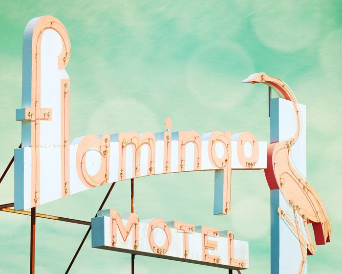 Vintage sign, guest room, pink flamingo, kitsch decor, mid century, dusty rose, blue green, bird, neon, motel, doo wop by bomobob on Etsy https://www.etsy.com/listing/122083773/vintage-sign-guest-room-pink-flamingo