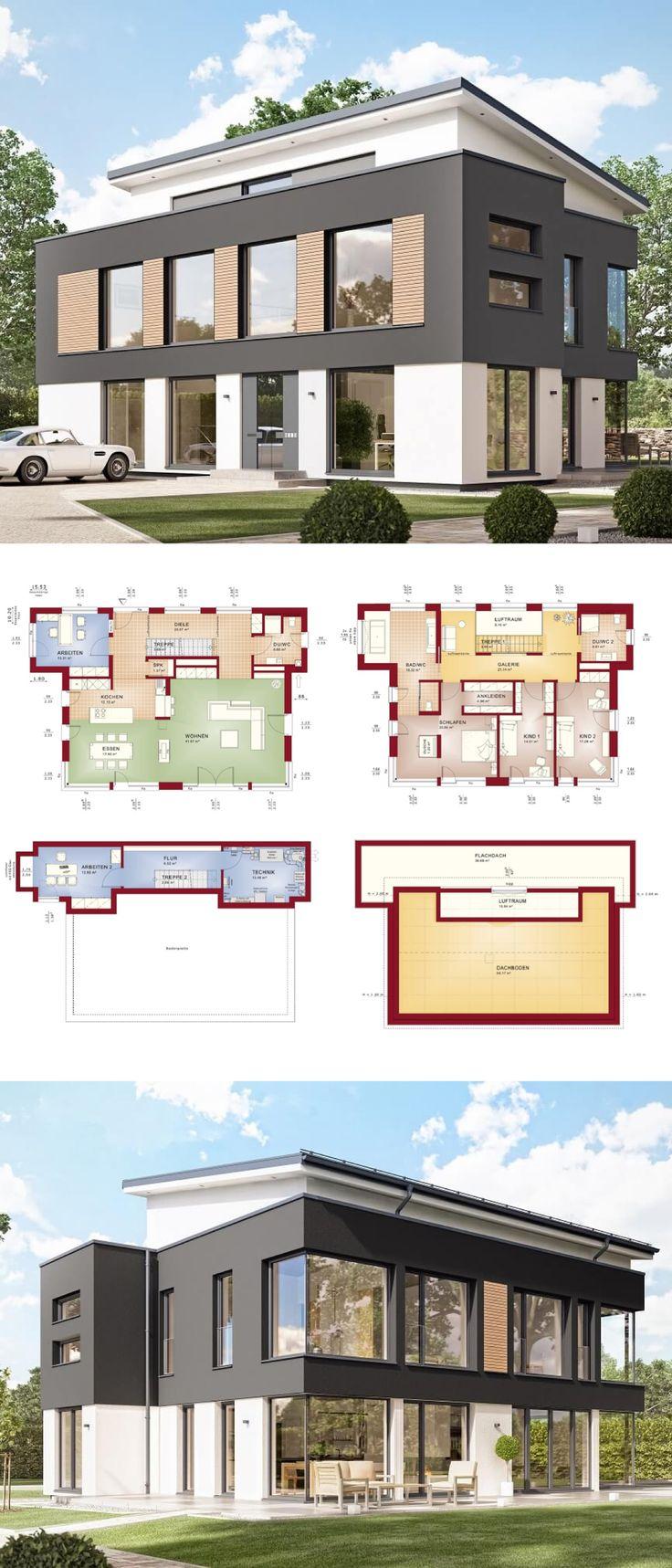 Vila moderna, com galeria e arquitetura de telhado penteado, fachada cinza – constru …   – Architektur