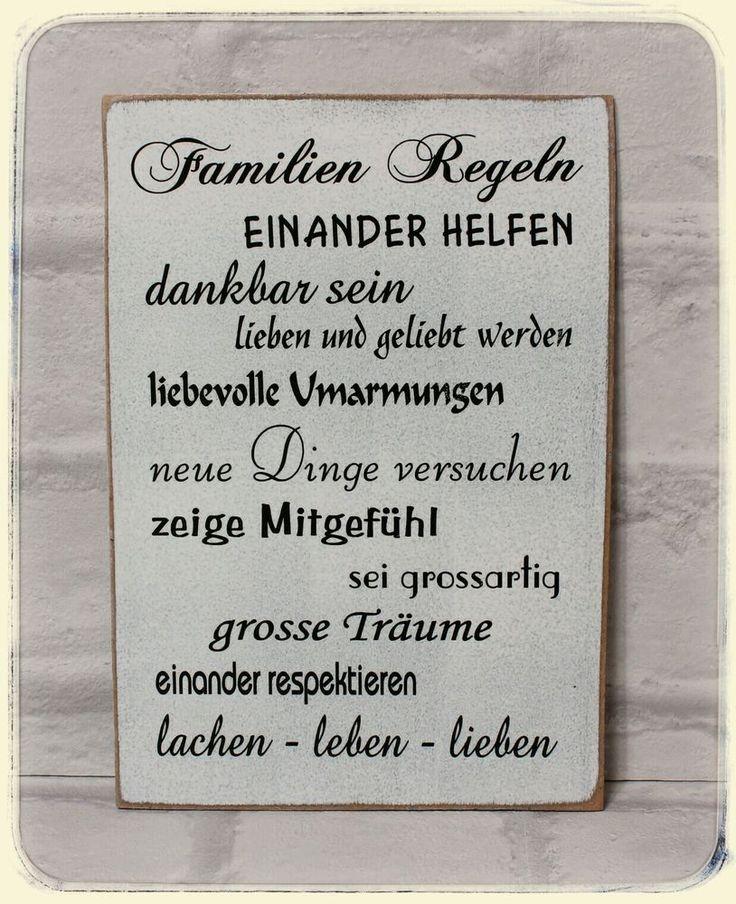 """Schild Wandschild """"Familien Regeln ..."""" Holz Shabby"""