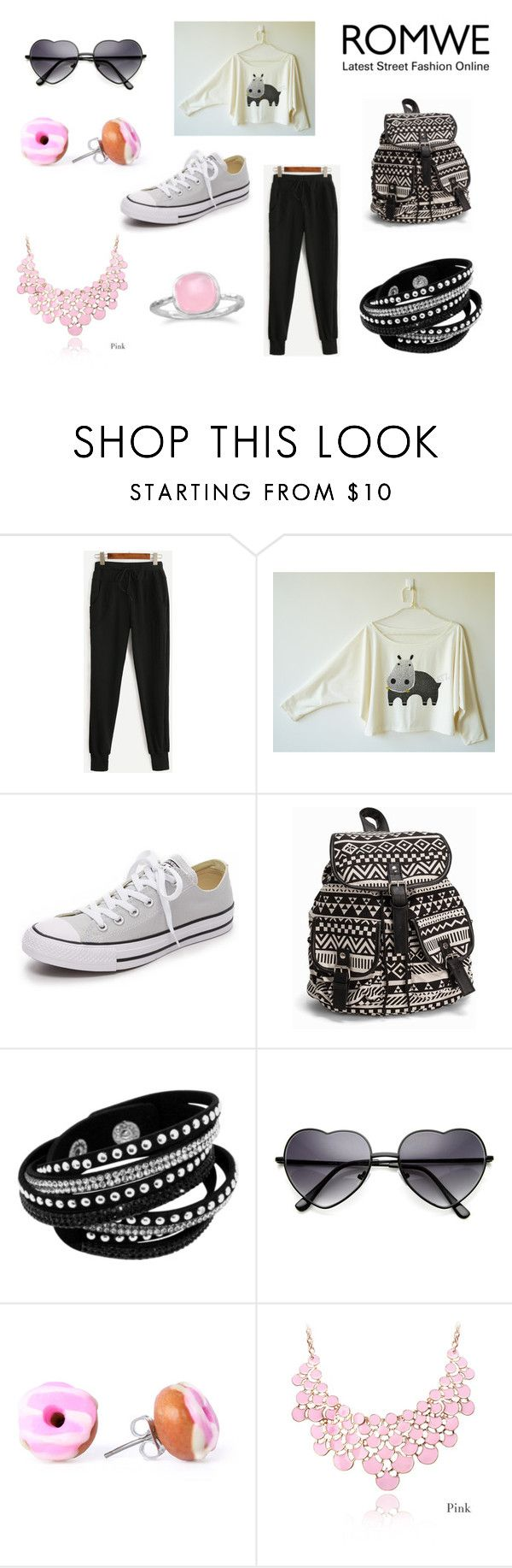 """""""Romwe.com Contest - Win Black Drawstring Waist Pants!!!"""" by holly32196 on Polyvore featuring Converse, NLY Accessories and BillyTheTree"""
