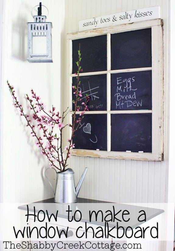 chalkboard, window, upcycle, recycled, home decorating, wall art, blackboard, black board, chalkboard, chalk board, wall decor, DIY, tutorial, pottery barn, ballard designs, ballards design, restoration hardware, catalog style