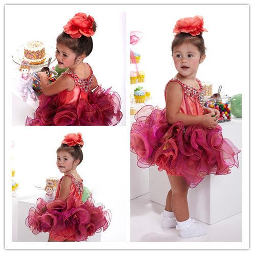Cheap Baby Pageant Dresses | ... /Mini Red Beaded Organza Tiered Infant Toddler Baby Pageant Dresses