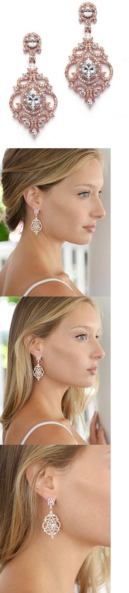 Bridal Jewelry 163552: Chandelier Earrings 14K Rose Gold Plated Cubic Zirconia Wedding Fashion Wedding -> BUY IT NOW ONLY: $41.95 on eBay!