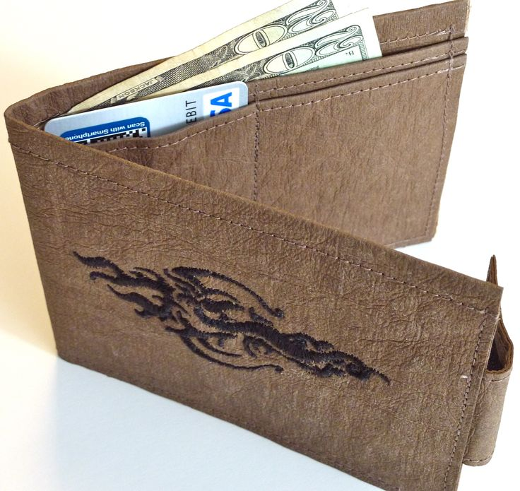 Embroidered kraft•tex™ wallet. Thin, soft and durable. Must make for my man! designed by Kathryn Luciana.