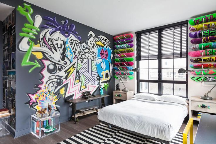 Remarkable Chic Apartment in Unique Design : Graffiti Wall Decor Teens Bedroom Design Elegant Apartment