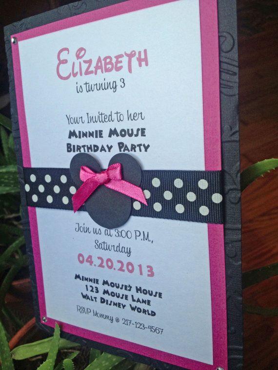 Handmade Minnie Mouse Birthday Invitation on Etsy, $2.25
